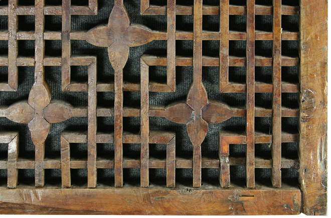 Antique Chinese Window Screen Geometric Carved Flowers
