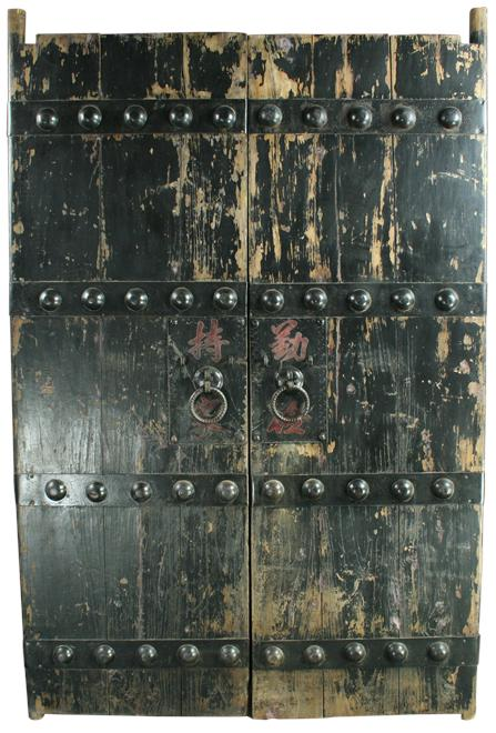 Antique Chinese Doors Large Nails Painted Characters