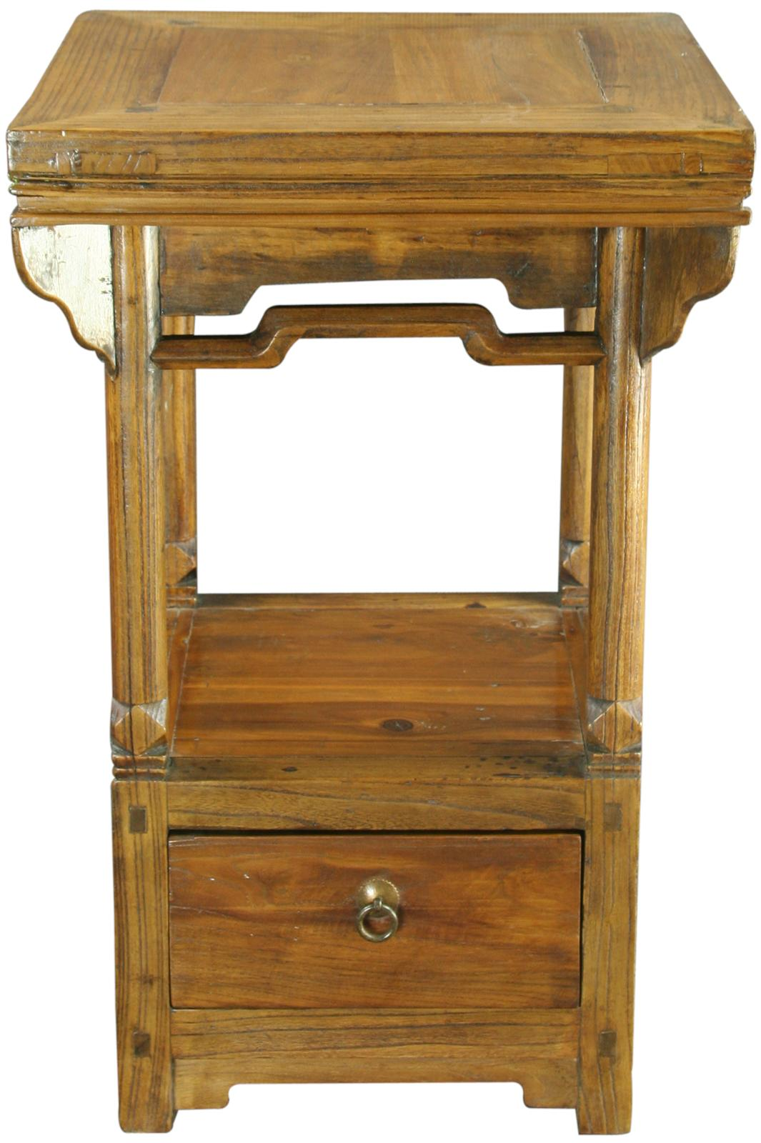 Old Bedside Table: ANTIQUE CHINESE ACCENT TABLE NIGHTSTAND BEDSIDE TABLE