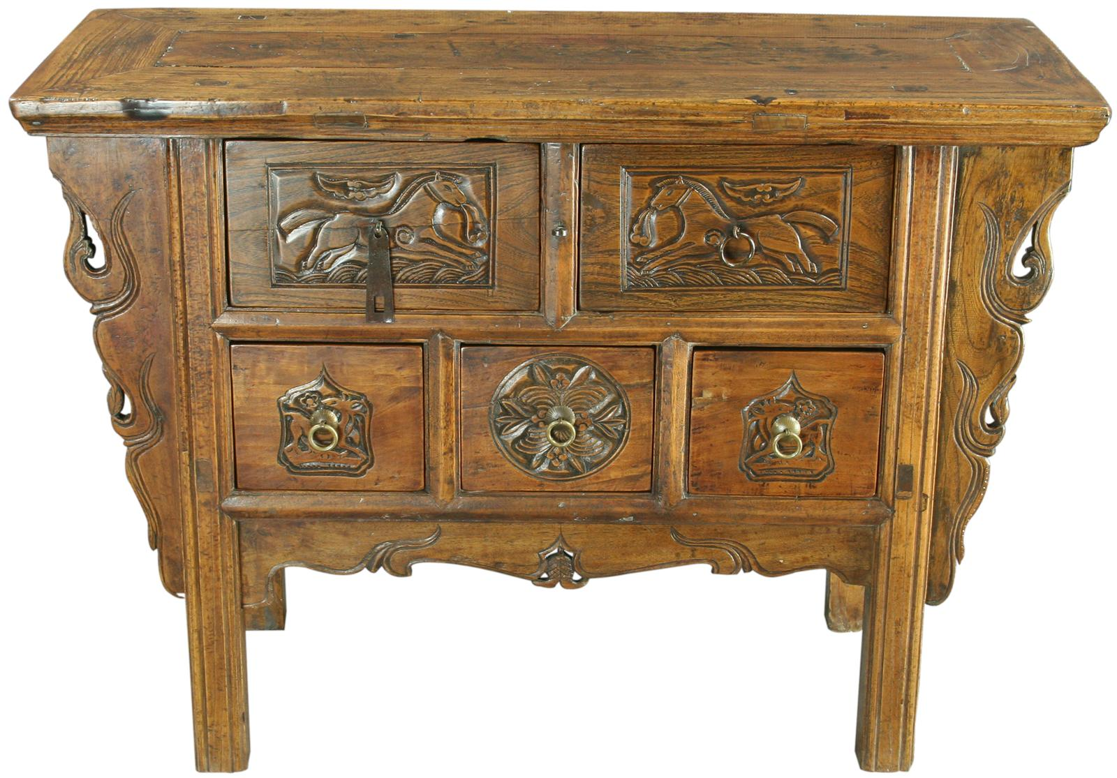 Antique Foyer Cabinet : Antique chinese hall table chest drawers carved horses ebay