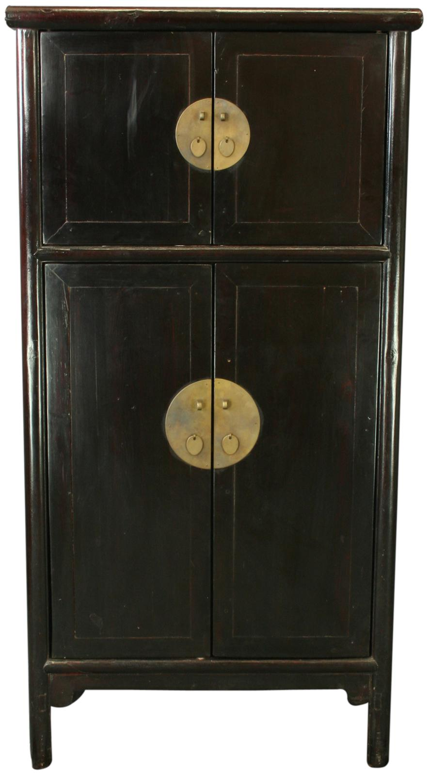 antique chinese black armoire storage cabinet wardrobe ebay. Black Bedroom Furniture Sets. Home Design Ideas