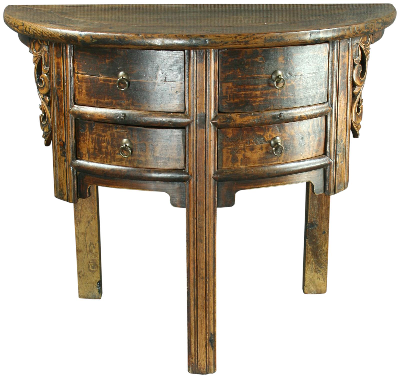 antique chinese half moon semicircular accent table ebay. Black Bedroom Furniture Sets. Home Design Ideas