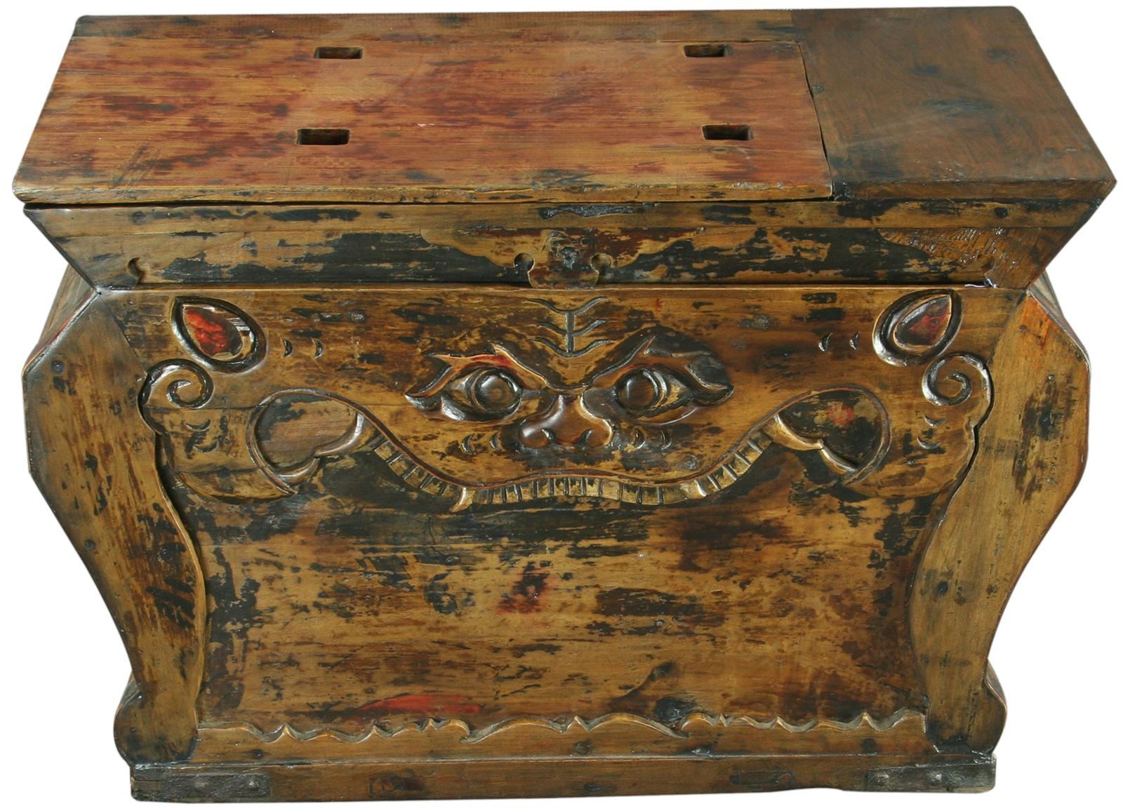 Antique chinese trunk box coffee table carved teeth ebay for Asian trunk coffee table