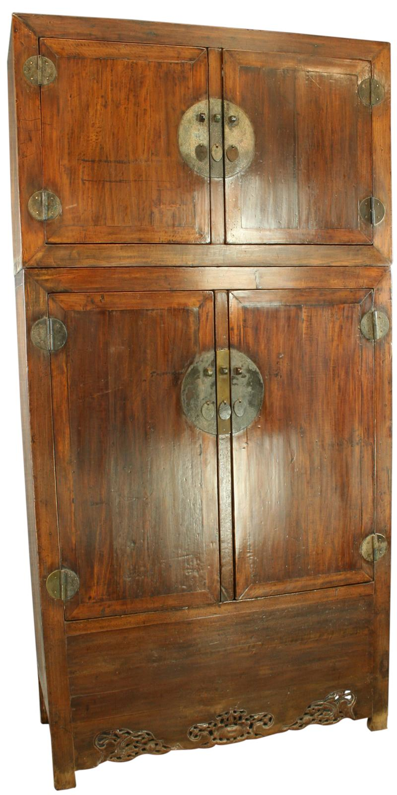 LARGE ANTIQUE CHINESE ARMOIRE CABINET WARDROBE DRAGONS
