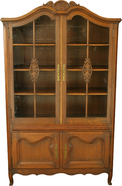 Vintage French Country Louis XV Style Cabinet Hutch Glass Front Bookcase in Oak