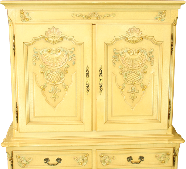 Vintage French Country Louis XV Painted Cabinet Wardrobe