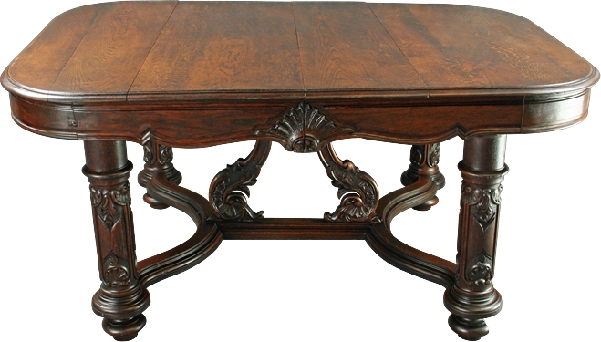 Antique Rococo Louis XV French Country Dark Oak Table Highly Carved Legs