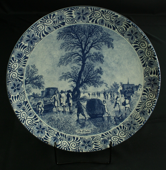 Vintage Blue Delft Plate Charger with Winter Scene of Villagers on the Ice
