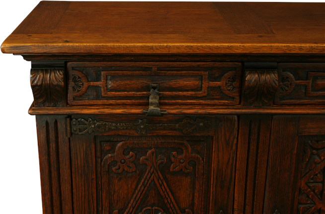 vintage carved oak spanish mission sideboard wrought iron. Black Bedroom Furniture Sets. Home Design Ideas