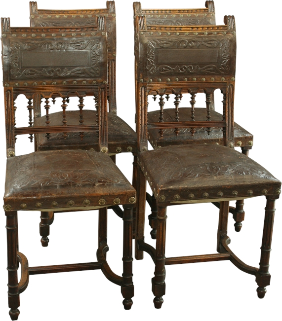 Ari Leather Dining Chair Walnut: ANTIQUE WALNUT FRENCH RENAISSANCE HENRY II DINING CHAIR