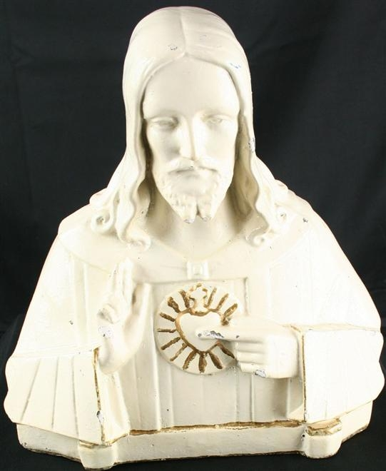 Antique French Art Deco Chalkware Sculpture Bust of Jesus with Sacred Heart