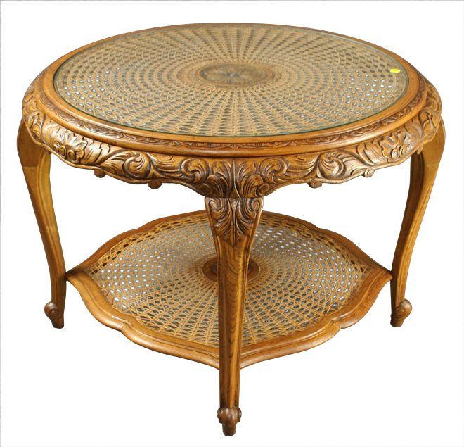 French Country Coffee Table And End Tables: VINTAGE ROUND 1950S FRENCH COUNTRY COFFEE TABLE, IN CARVED