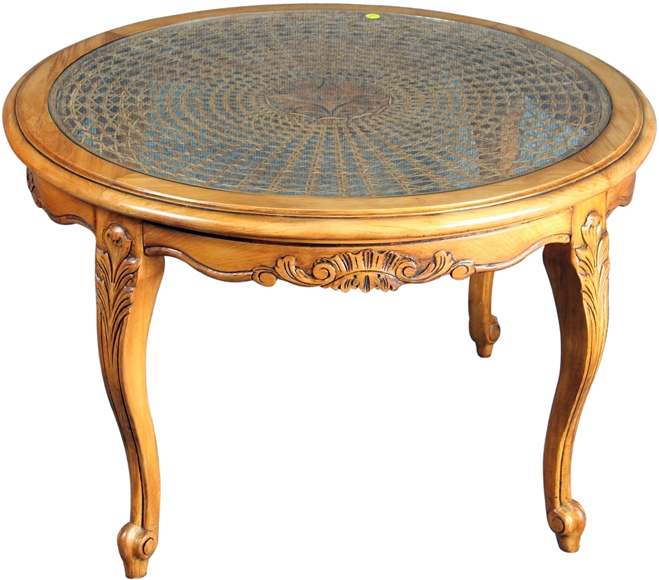 French Provincial Oval Coffee Table: VINTAGE 1950 ROUND FRENCH COUNTRY COFFEE TABLE, LOUIS XV