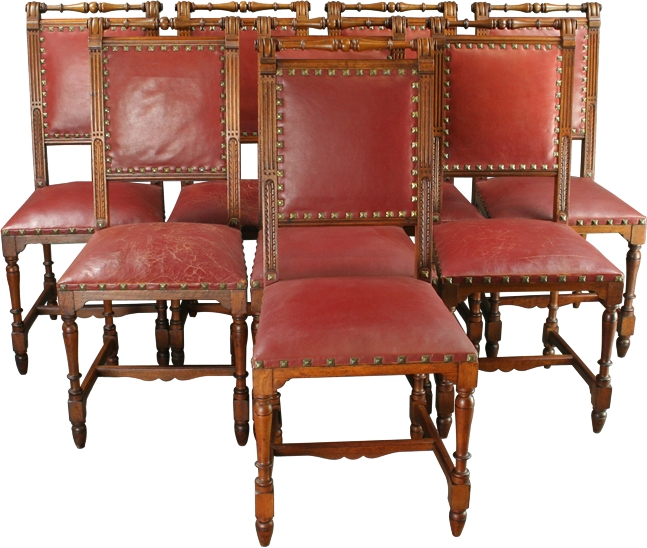 Antique Set 8 French Henry Ii Walnut Red Leather