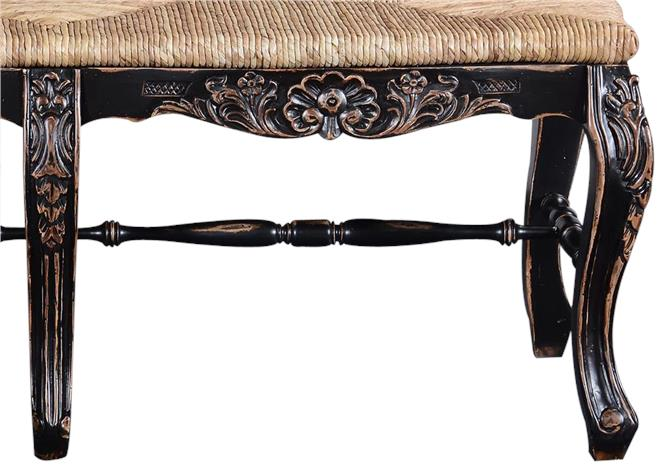 New French Country Bench Window Seat, Blackwashed Carved Wood, Handwoven Rattan