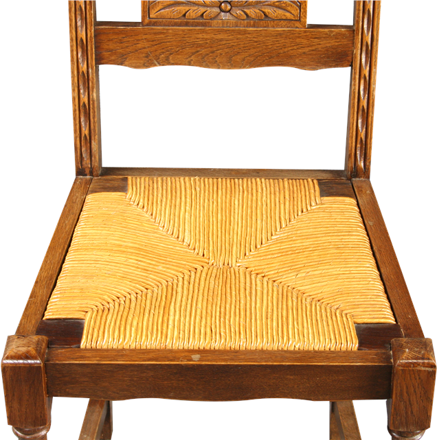 6 VINTAGE FRENCH DINING CHAIRS BRITTANY STYLE CHESTNUT RATTAN CARVED FIGUR