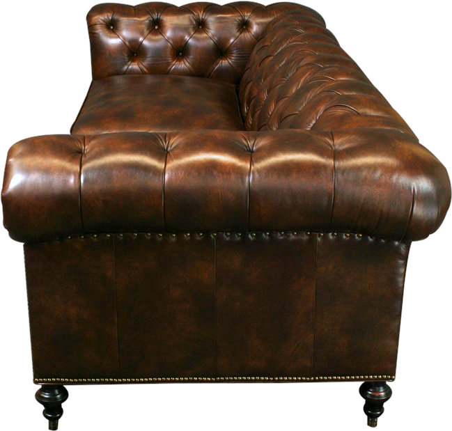 New Leather Chesterfield Sofa Wood Brown Top Grain Leather