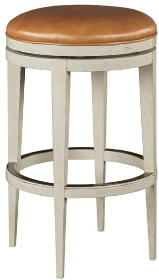 New Counter Stool White Cream Brown Beige Tan Leather Welt