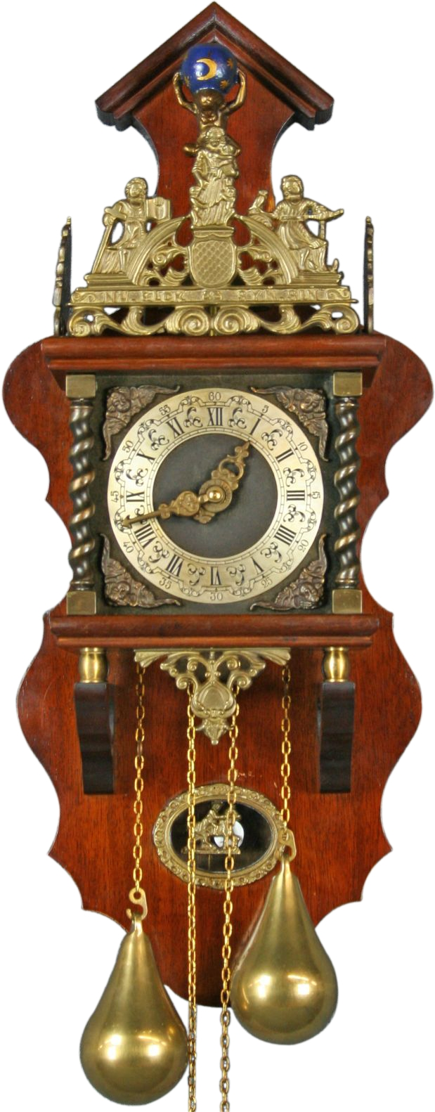 Vintage 1950 Dutch Zaandam Zaanse Pendulum Wall Clock From