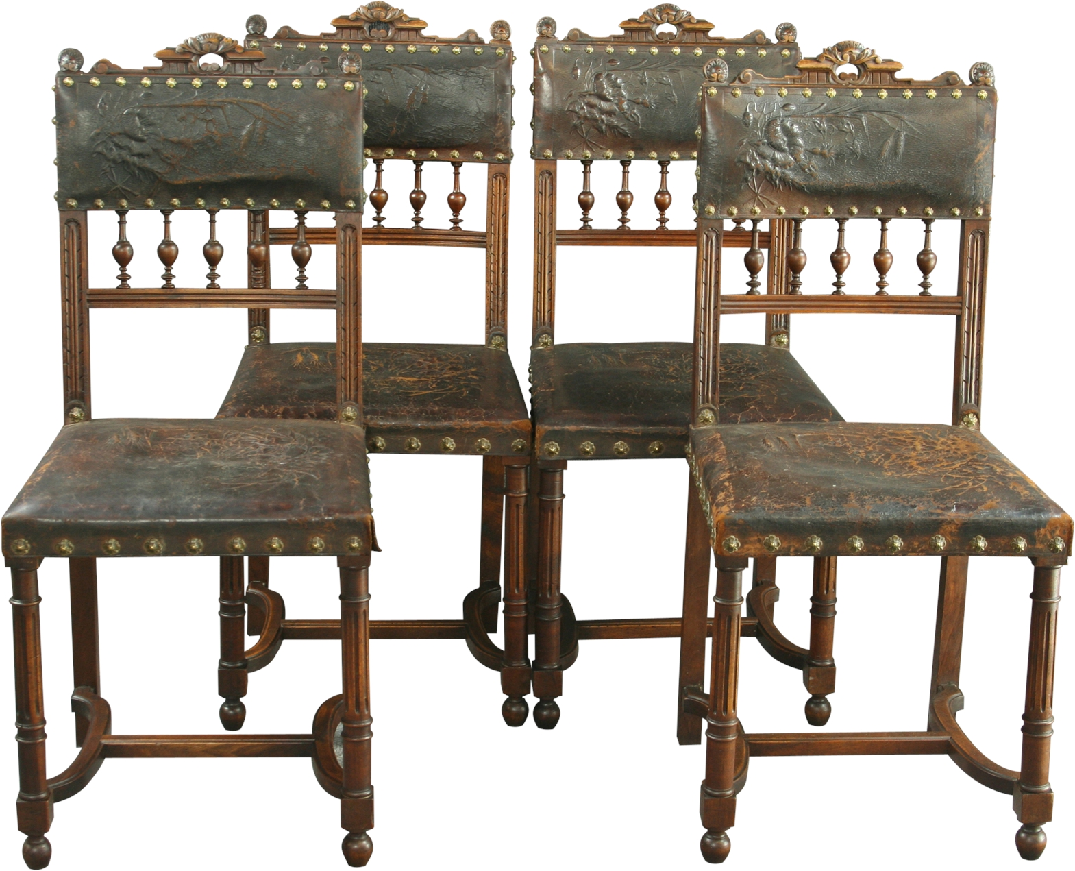 SET 4 ANTIQUE FRENCH RENAISSANCE STYLE DINING CHAIRS