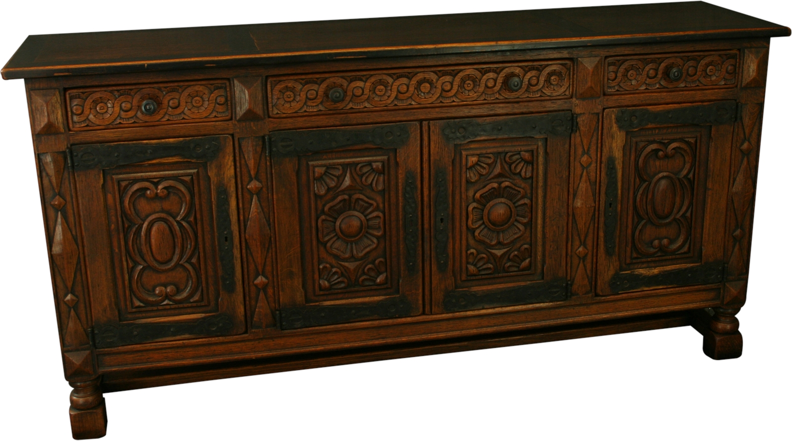 large heavily carved 1930 spanish oak sideboard wrought. Black Bedroom Furniture Sets. Home Design Ideas