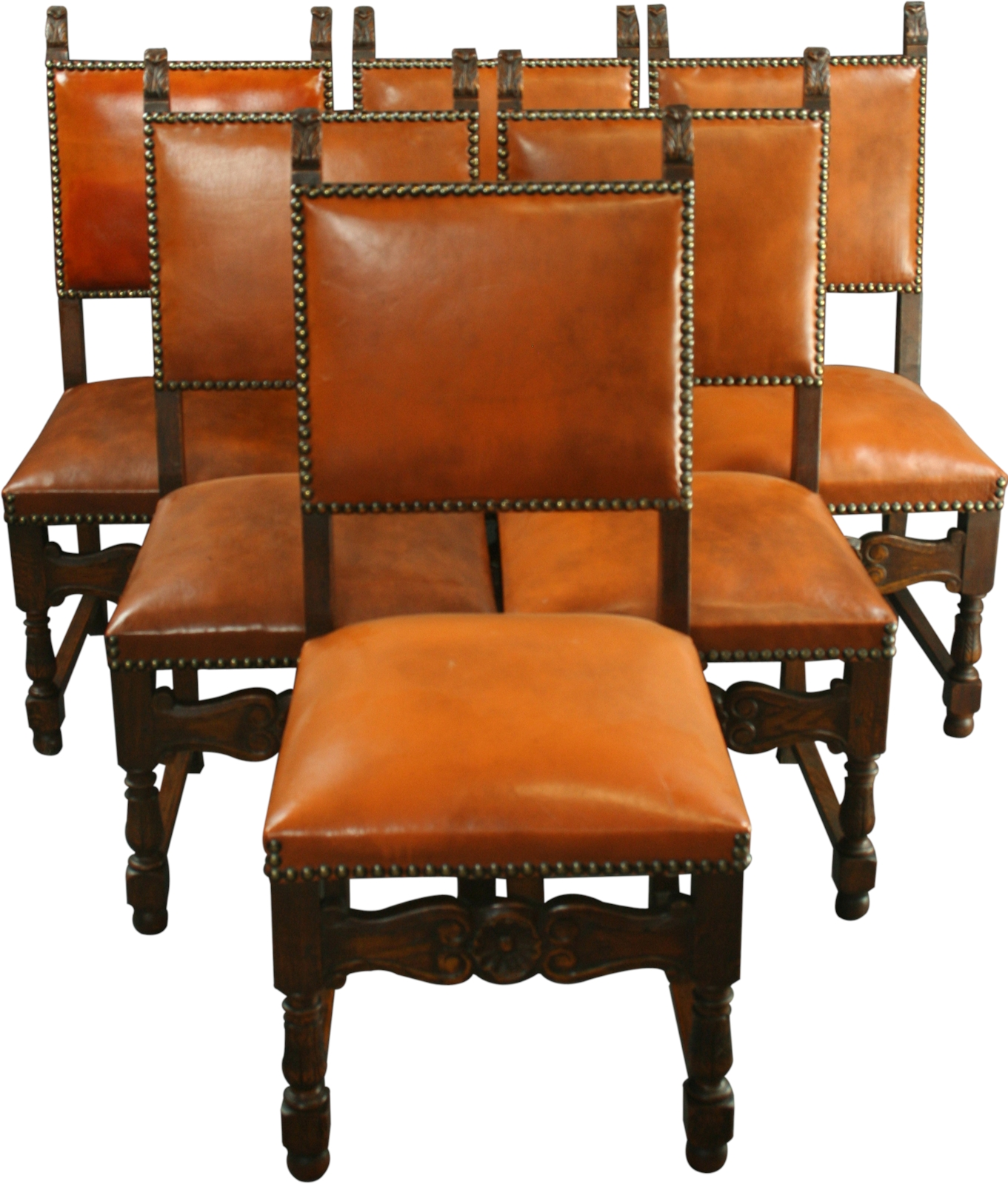 Spanish Style Dining Room Furniture: SPANISH MISSION STYLE OAK DINING CHAIRS, LEATHER, CARVED