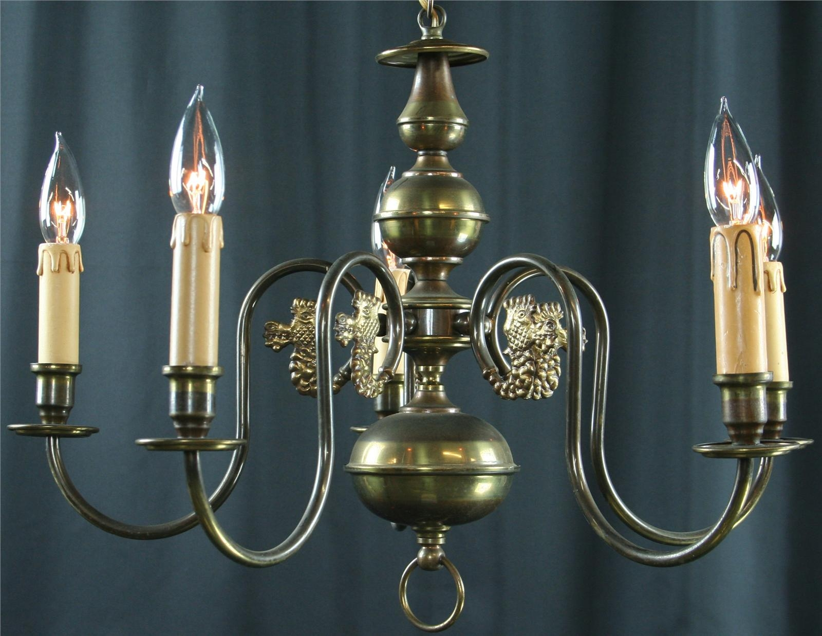 PETITE VINTAGE FLEMISH DRAGON CHANDELIER 5 ARMS METAL