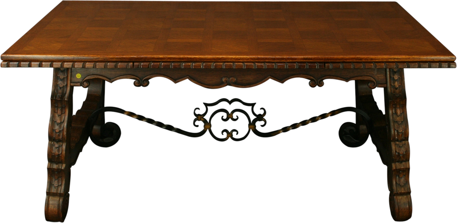 ... French Dining Table, Renaissance Style, Wrought Iron, Parquet Top