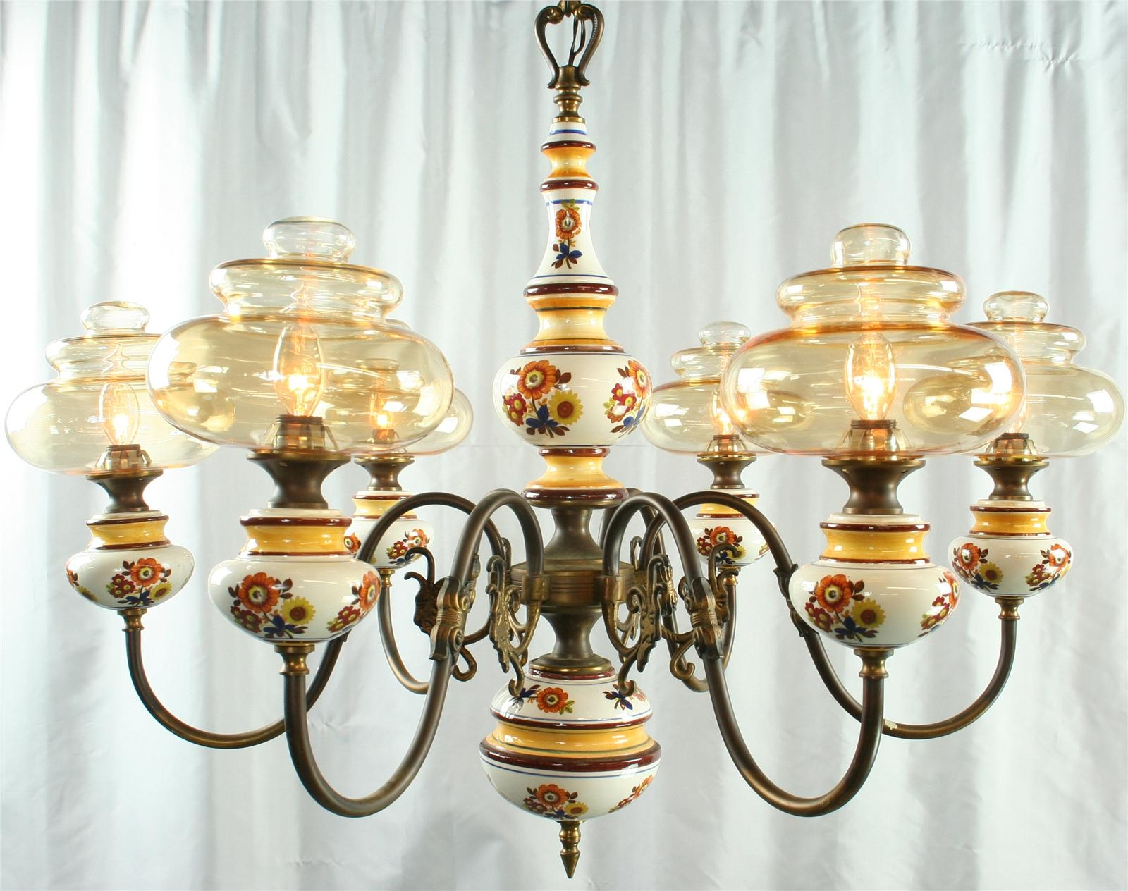 Vintage French Country Chandelier Ceramic Glass Globes