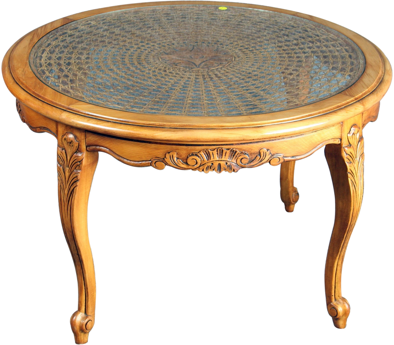 VINTAGE 1950 ROUND FRENCH COUNTRY COFFEE TABLE, LOUIS XV