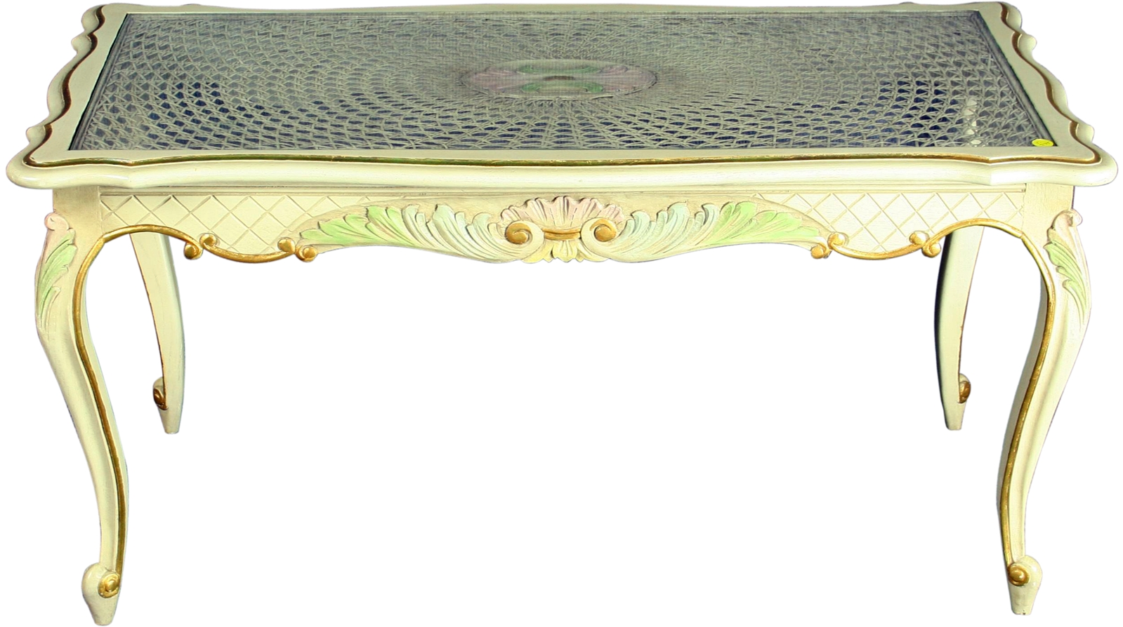 Vintage French Country Louis Xv Painted Coffee Table Ebay