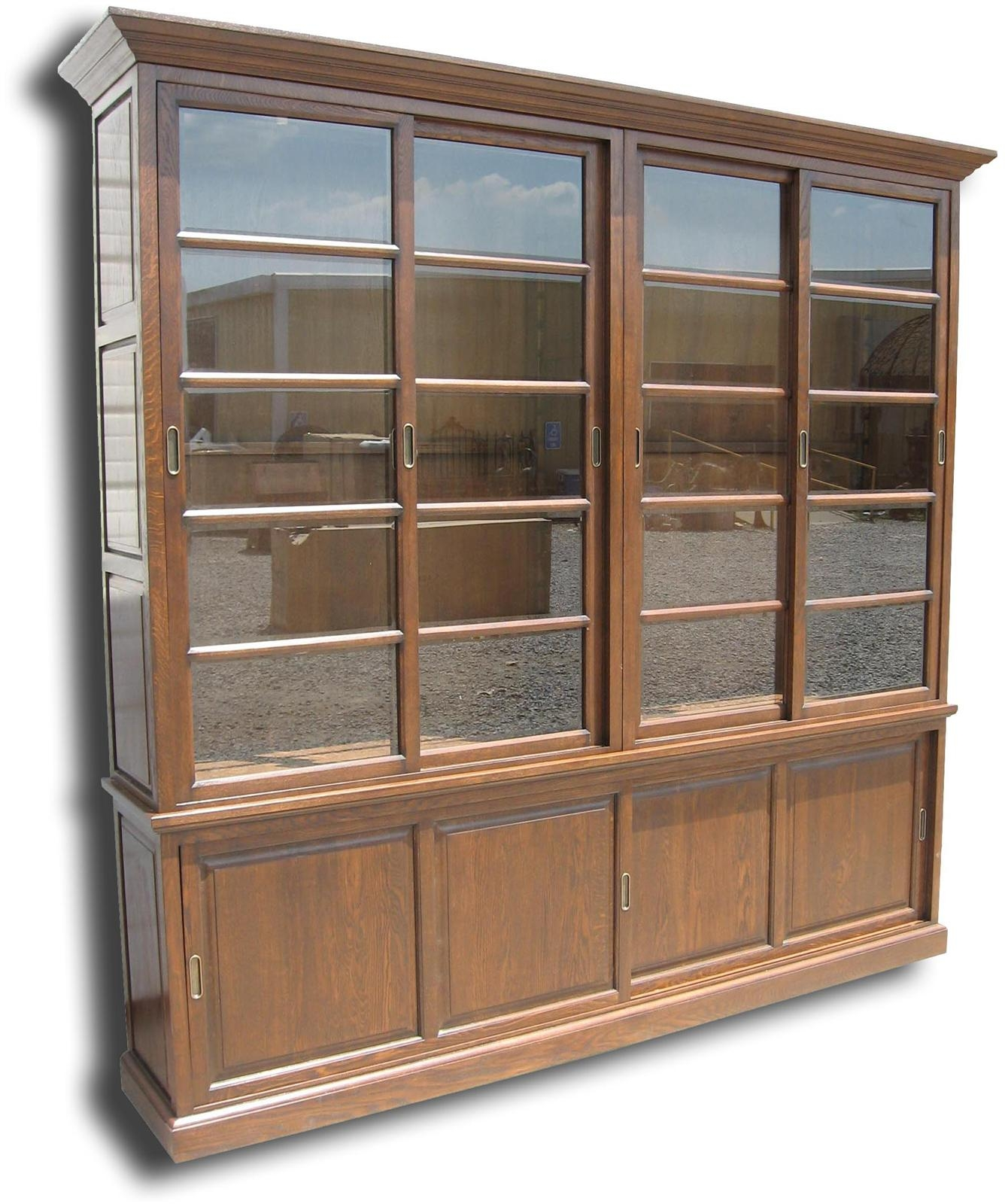 New Bookcase Solid Oak Wood Antique Finish Sliding Doors