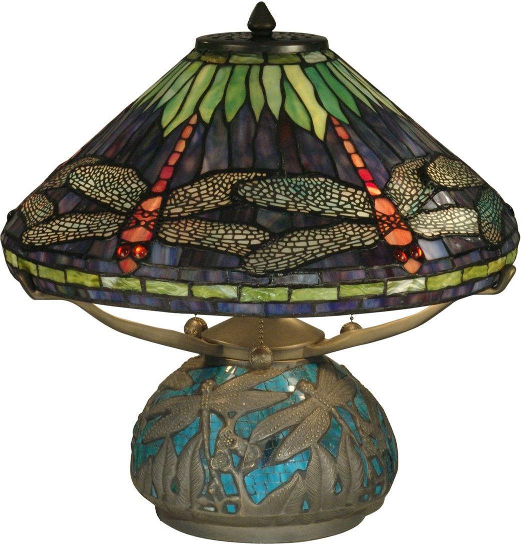 dale tiffany table lamp dragonfly shade base emerald amethyst art. Black Bedroom Furniture Sets. Home Design Ideas