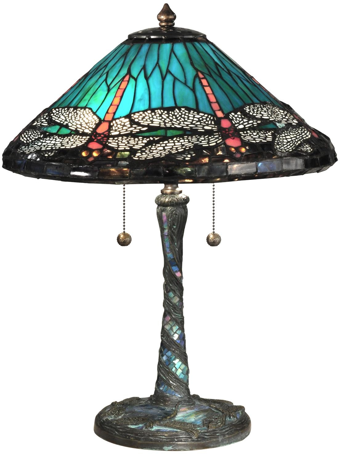new dale tiffany lamp blue cone dragonfly table lamp glass antique. Black Bedroom Furniture Sets. Home Design Ideas