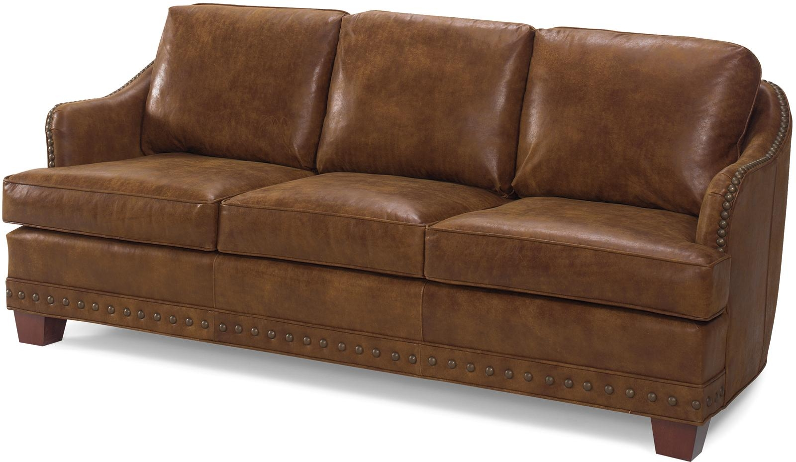New leather sofa antique style brown top grain leather for Brown leather couch with studs