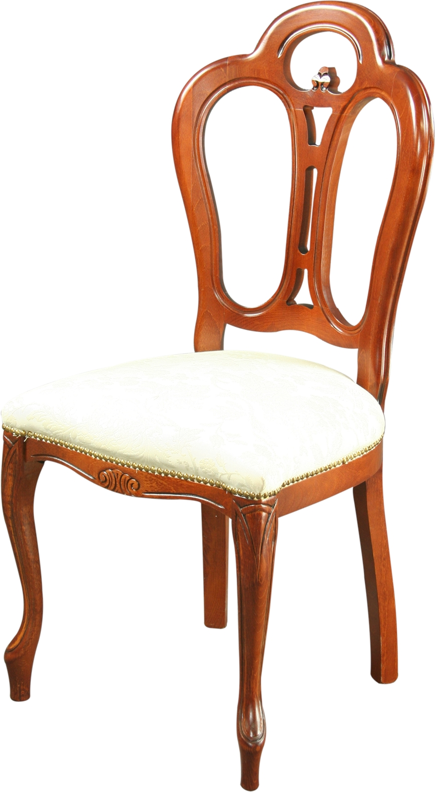 rococo dining chair italy ivory damask upholstery mahogany frame