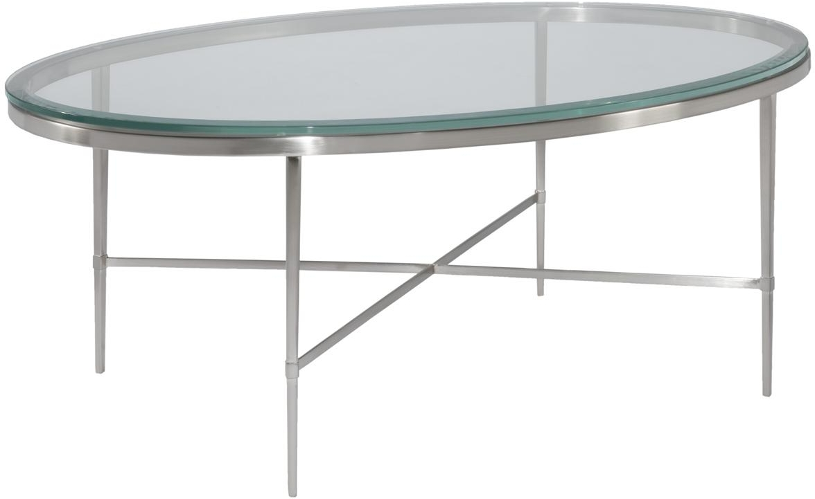 New oval coffee cocktail table polished nickel beveled for Oval glass coffee table
