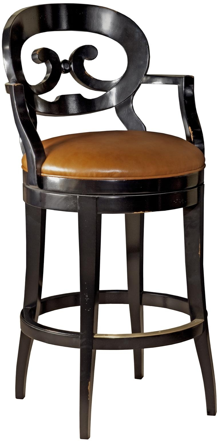 New French Country Swivel Counter Stool Saddle Brown