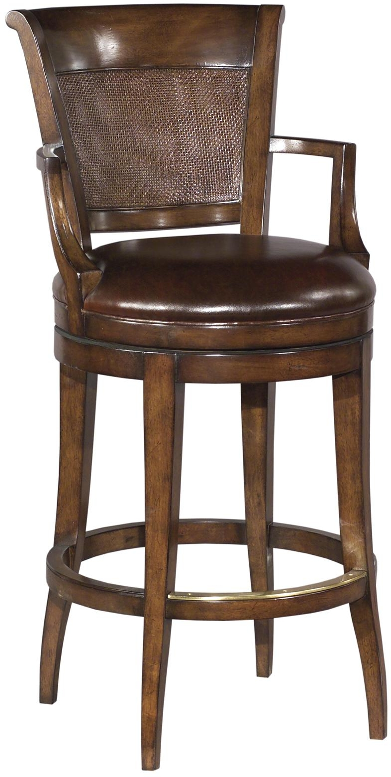 New Swivel Counter Stool Cane Panel Back Chocolate