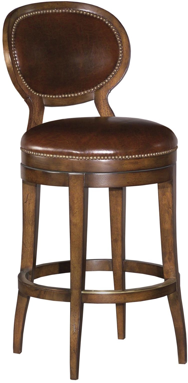 New Swivel Counter Stool Oval Back Brown Leather Brown