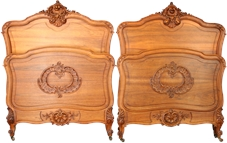 Pair Antique French Twin Beds, 1900 Louis XV Style, Carved Walnut, Very Pretty