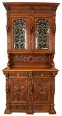 1900 Buffet, Sideboard, Mechelen Style, Carved Oak, Lions, Stained Glass