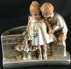 Small Vintage Chalkware Vase with Boy & Girl Courting on a Wall near Liege