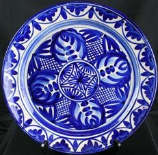 Vintage Blue & White Hand-Painted Spanish Majolica Plate with Moorish Design