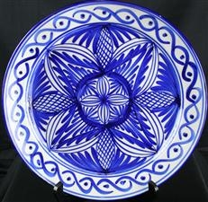 Vintage Spanish Majolica Charger Plate in Blue & White Geometric Mudejar Design