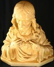 Vintage French Chalk Bust Sculpture Jesus Sacred Heart