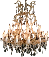 New Italian Cut Glass Brass 21-Arm Chandelier Marie Theresa Drops Swags Pendants