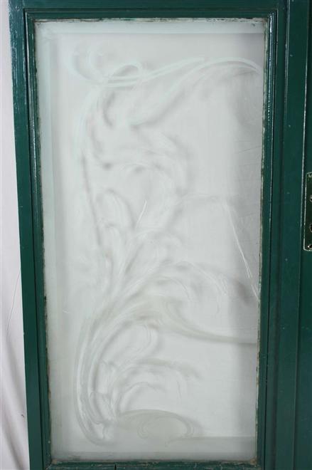 WOW Antique French Pair Art Nouveau Etched Glass Doors