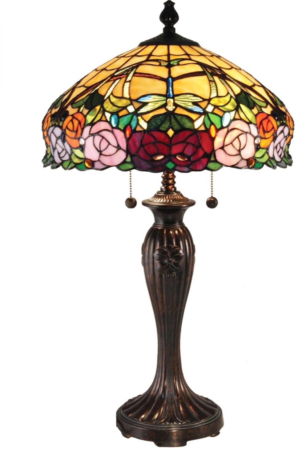 Details About Table Lamp Dale Tiffany Zenia Rose 2 Light Fieldstone Hand Rolled Art Gl