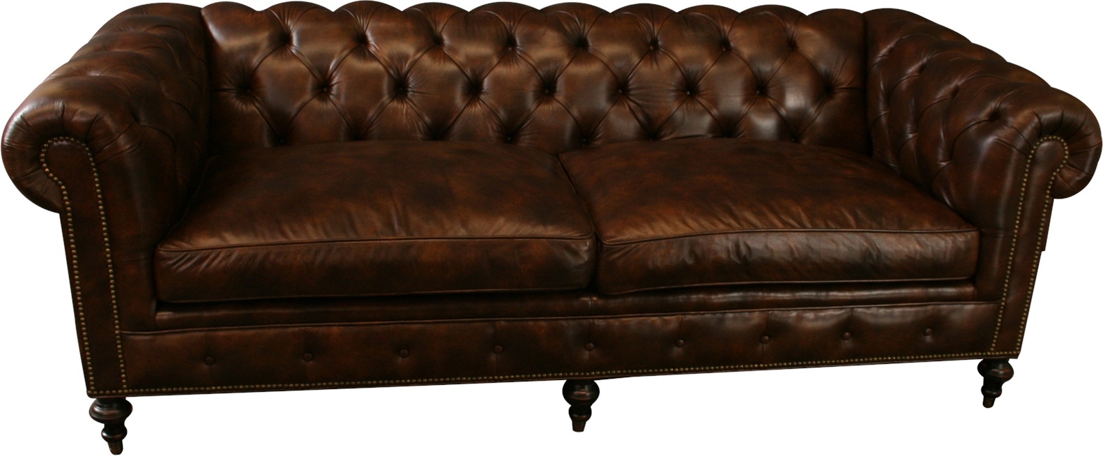 Details about NEW LEATHER CHESTERFIELD SOFA WOOD BROWN TOP GRAIN LEATHER  NAILHEAD TRIM
